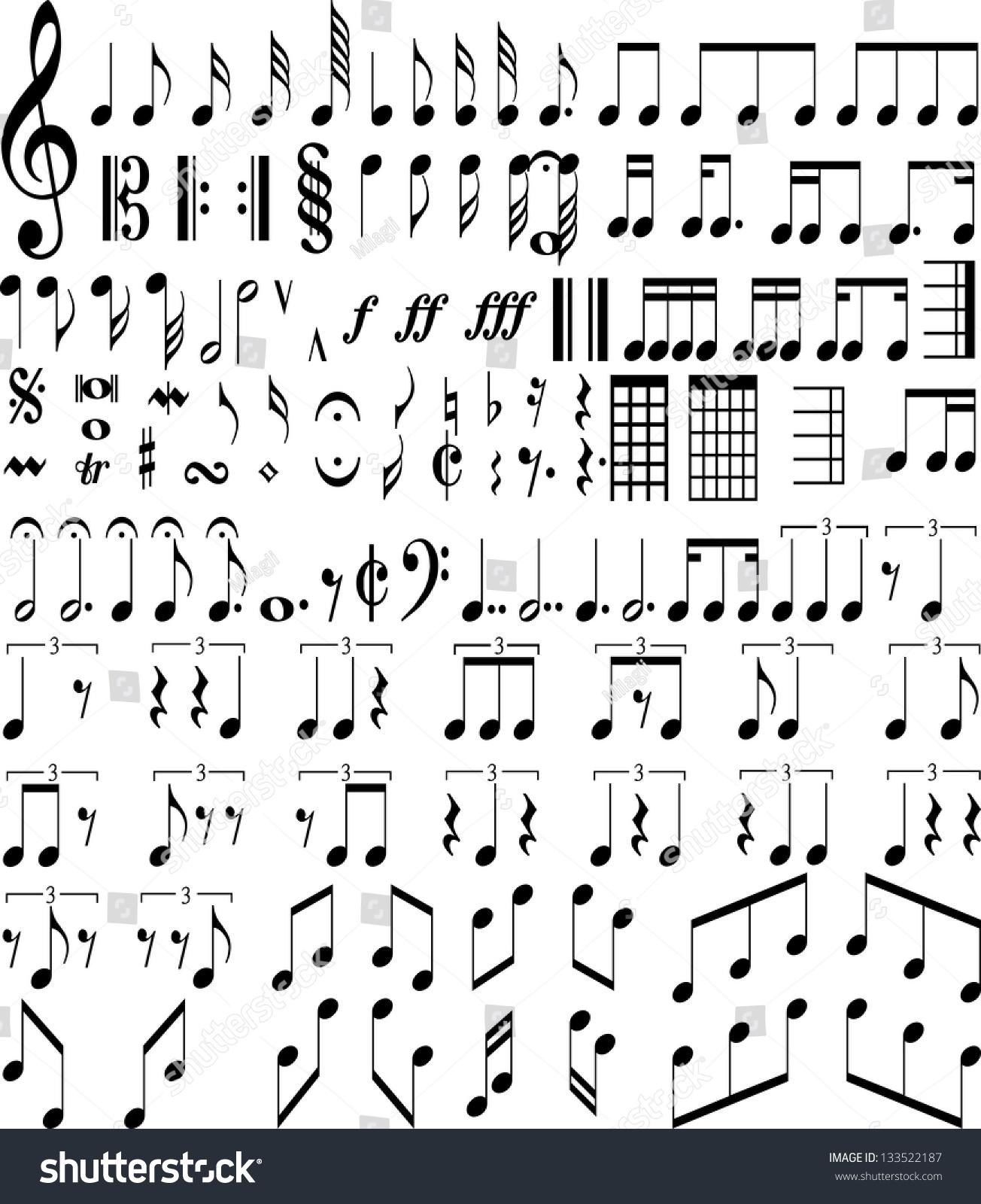 Music Symbols Stock Vector Royalty Free 133522187 Shutterstock