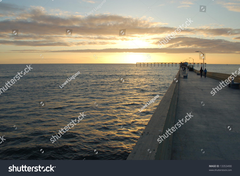 Fishing pier sunset ocean beach san stock photo 13353490 for Pier fishing san diego