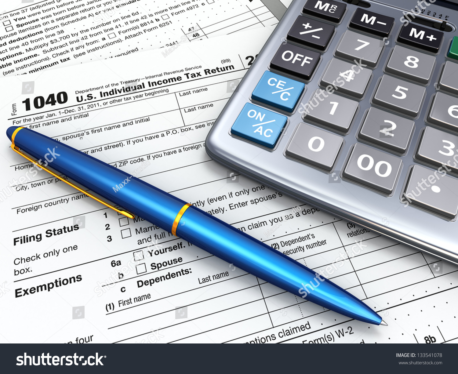 Tax return 1040 calculator and pencil on white background for 1040 tax table calculator