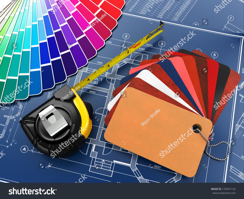 Interior Design Architectural Materials Measuring Tools Stock Illustration 133541132 Shutterstock