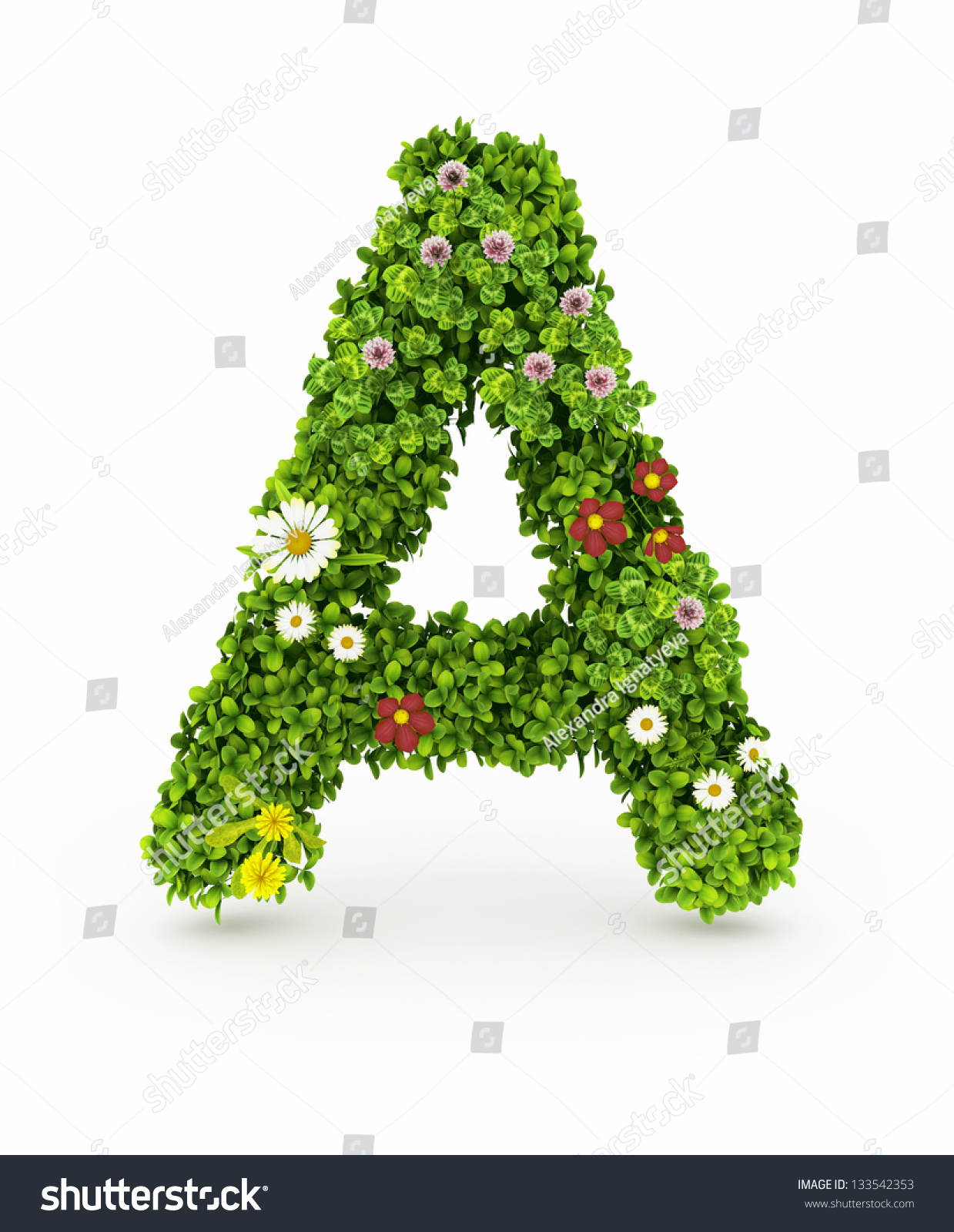 very nice floral alphabet.letters made of flowers and grass fotka, Beautiful flower