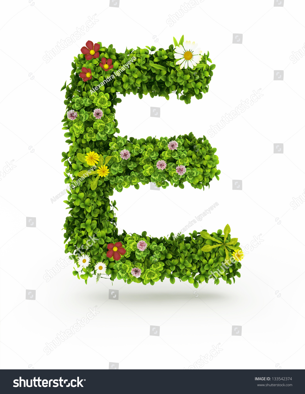very nice floral alphabetletters made flowers stock illustration, Beautiful flower