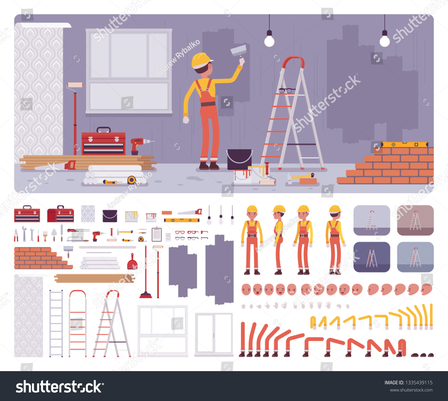 Repair Apartments Workplace Interior Worker Painting Stock