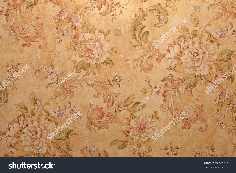 Vintage Golden Rundown Victorian Wallpaper Baroque Stock Photo