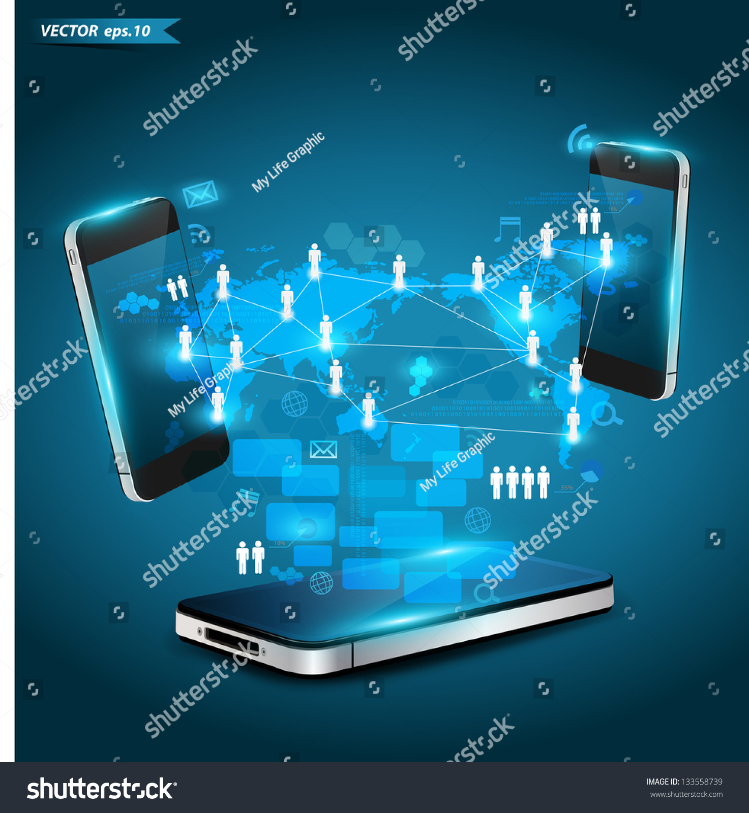 Mobile Phones Technology Business Concept Creative Stock