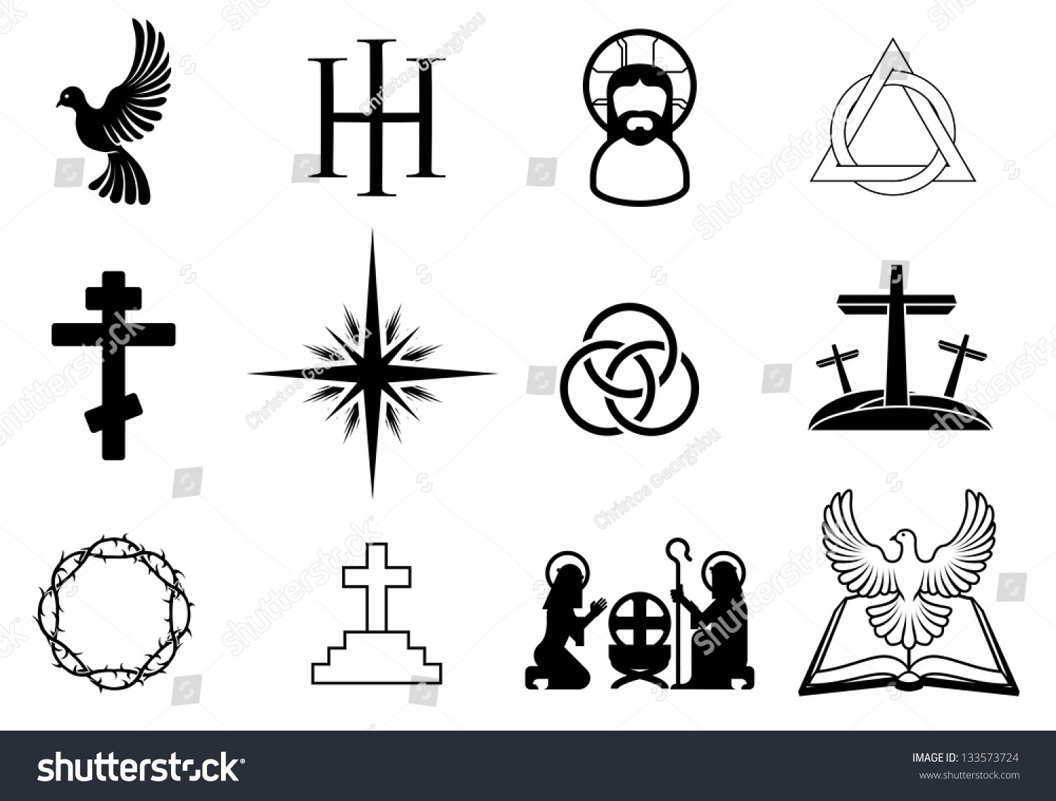 A Set Of Christian Religious Signs And Symbols Stock