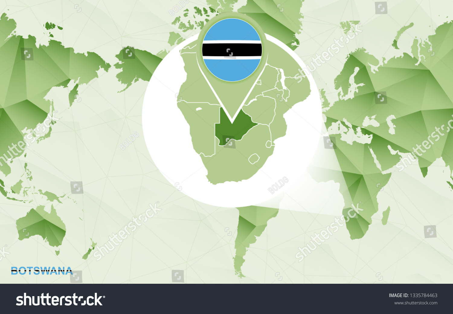 Picture of: America Centric World Map Magnified Botswana Stock Vector Royalty Free 1335784463
