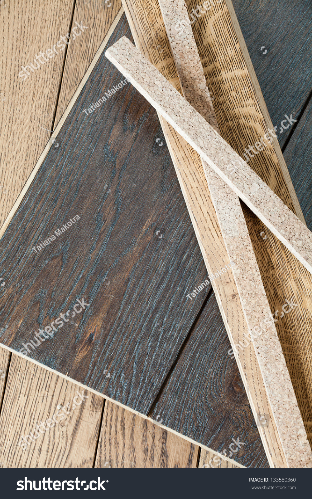 Different Pieces Of Wooden Parquet, Stock Photo 133580360