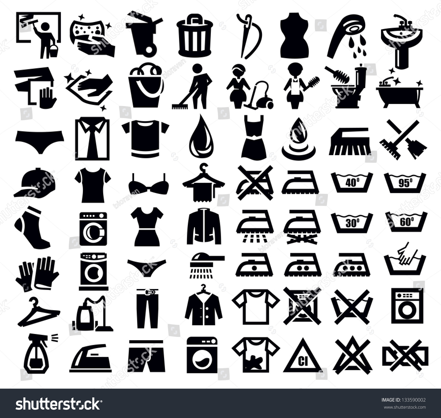 Clothes Wash Signs: Vector Black Washing Signs Clothes Icon Stock Vector