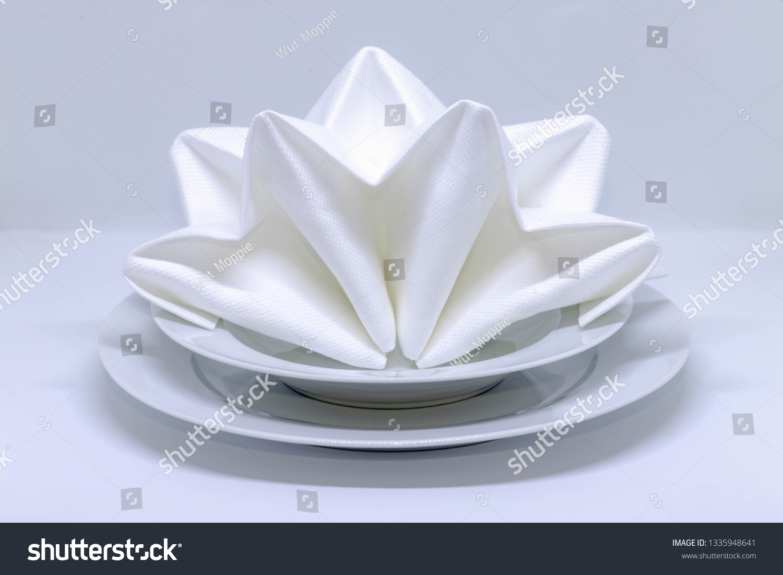 Folding Napkin Asian Fan Shaped White Stock Photo Edit Now 1335948641