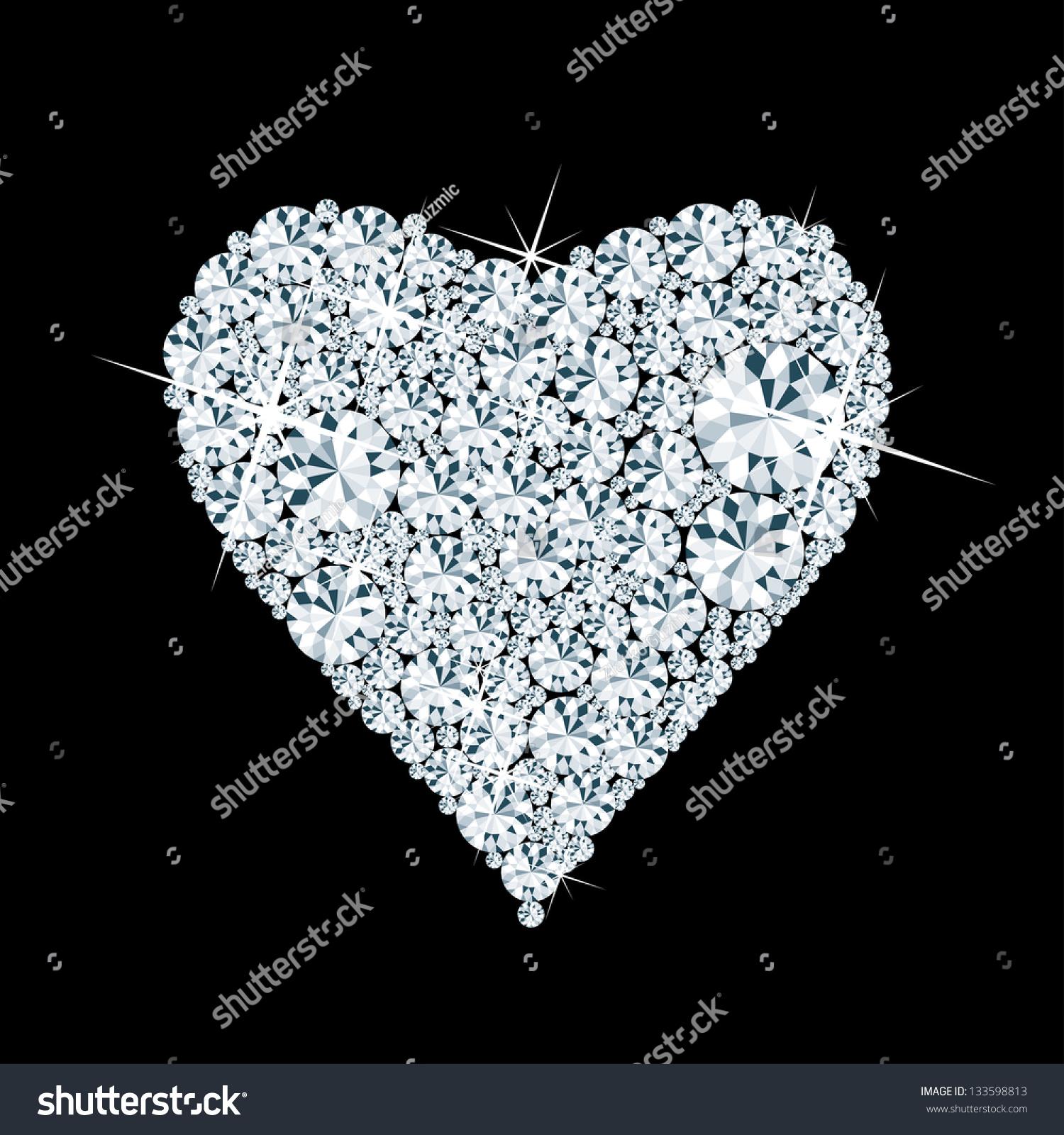 Vector Abstract Diamond Heart Black Stock Vector