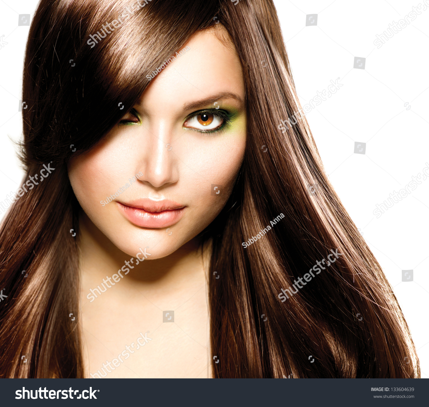 hair beautiful brunette girl healthy long stock photo 133604639 shutterstock. Black Bedroom Furniture Sets. Home Design Ideas