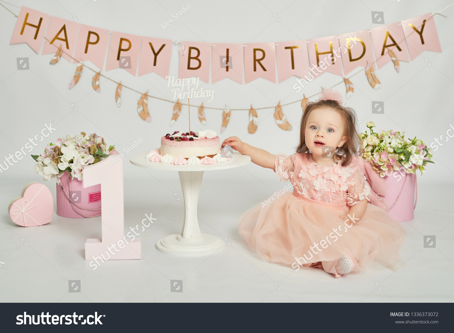 Fantastic Girl Birthday Cake 1 Year Old Stock Photo Edit Now 1336373072 Funny Birthday Cards Online Alyptdamsfinfo