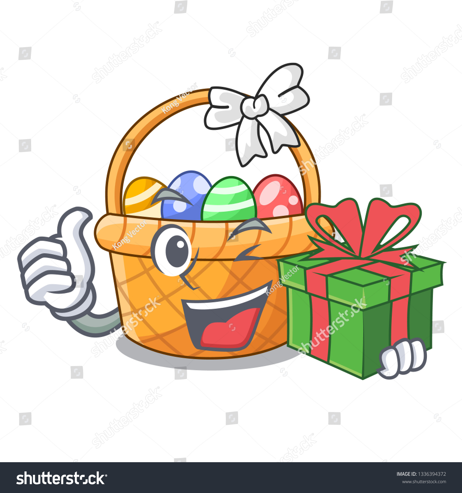Gift Easter Basket Miniature Shape Mascot Stock Vector (Royalty Free