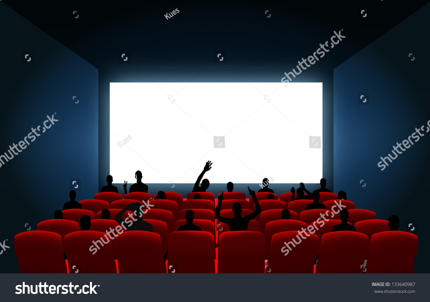 Cinema Screen Black Silhouettes Place Your Stock Vector ...