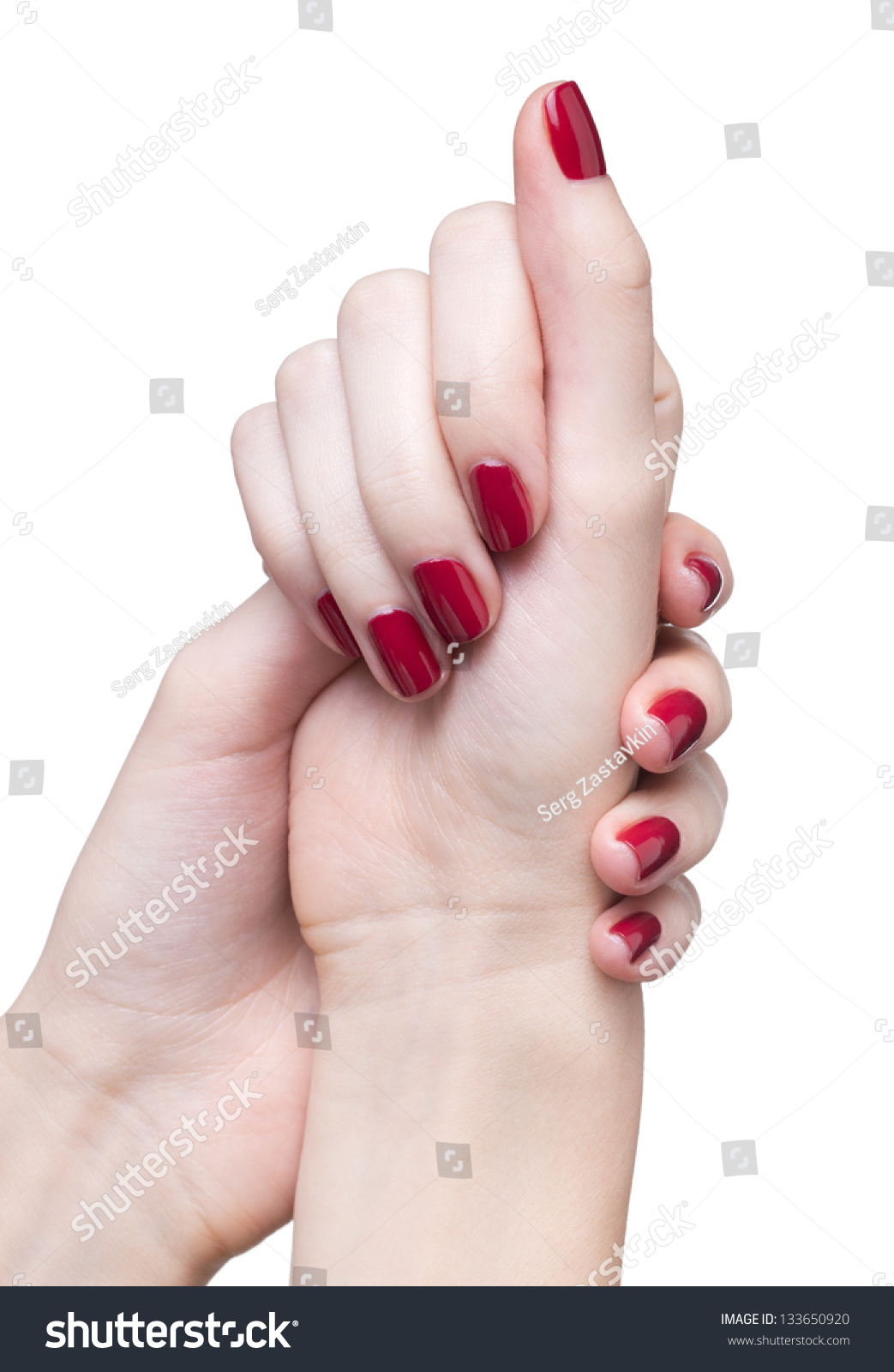 Hands With Woman'S Professional Red Nails Manicure