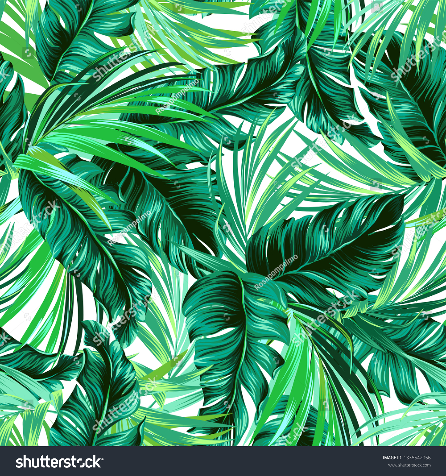Teal Green Tropical Leaves Seamless Graphic Stock Vector Royalty Free 1336542056 Tropic paradise island landscape design one sketch outline drawing vector. https www shutterstock com image vector teal green tropical leaves seamless graphic 1336542056