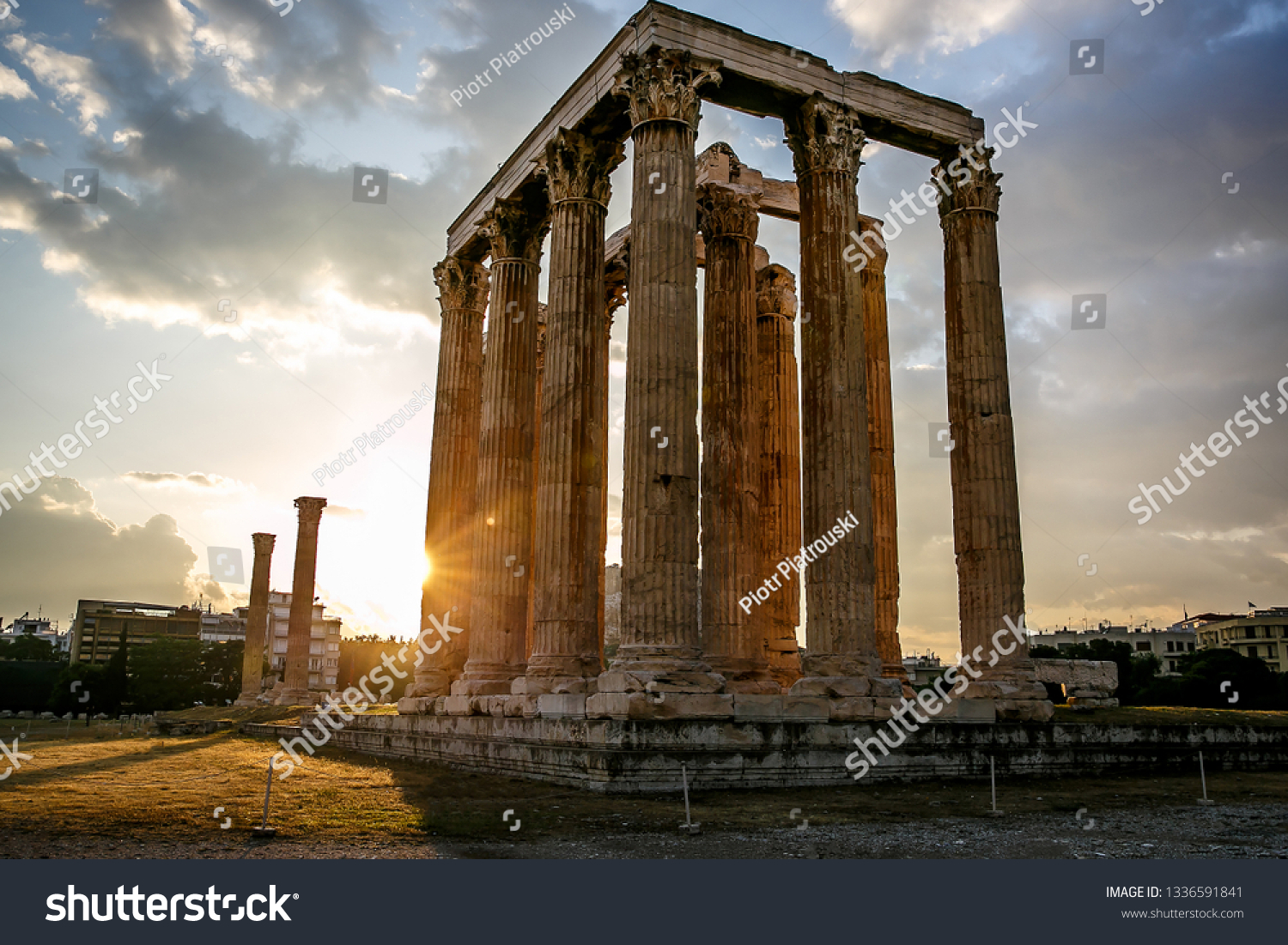 Ancient Greek Columns Ancient Temple Zeus Stock Photo (Edit