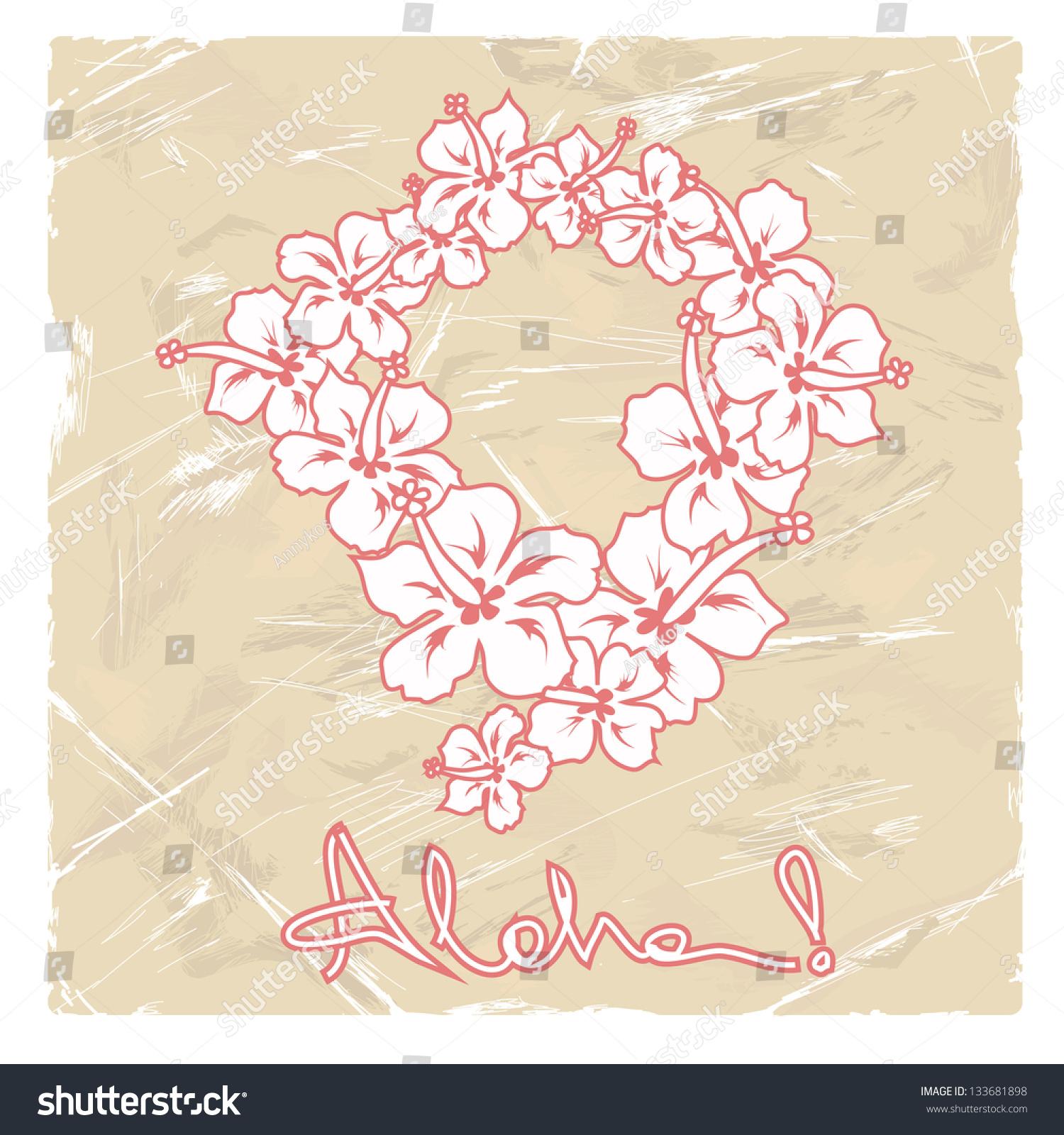 Illustration hawaiian flower garland on retro stock vector royalty illustration of hawaiian flower garland on a retro background izmirmasajfo