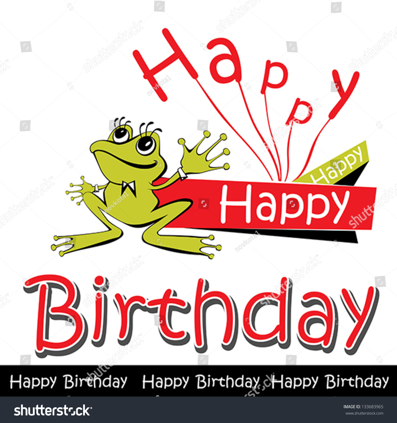 Happy Birthday Card Frog Stock Vector Royalty Free 133683965