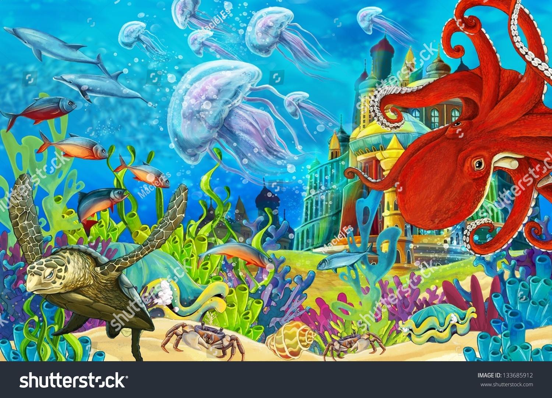 Underwater Castle Princess Series Illustration Children