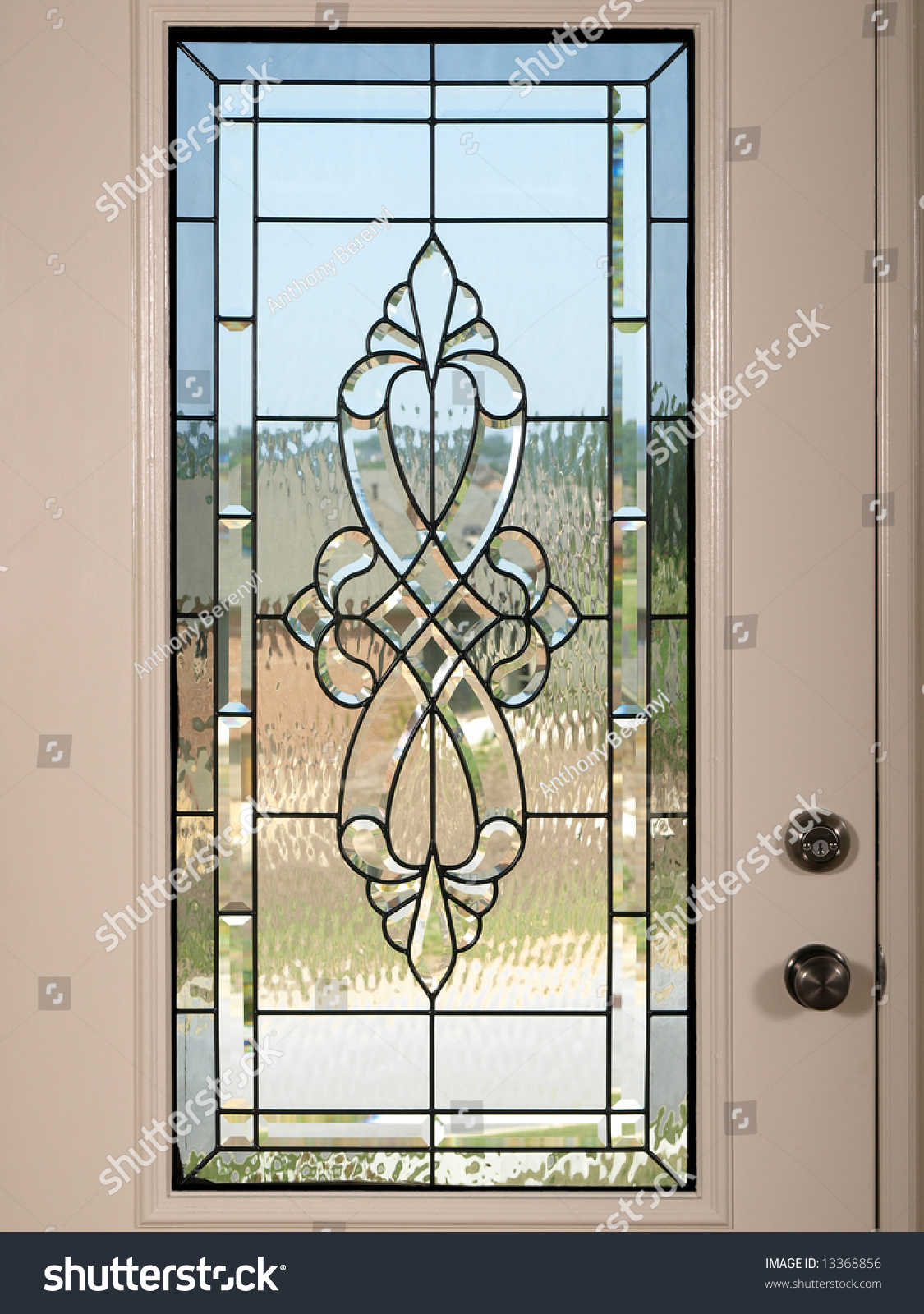 Luxury Model Home Stained Glass Front Stock Photo 13368856