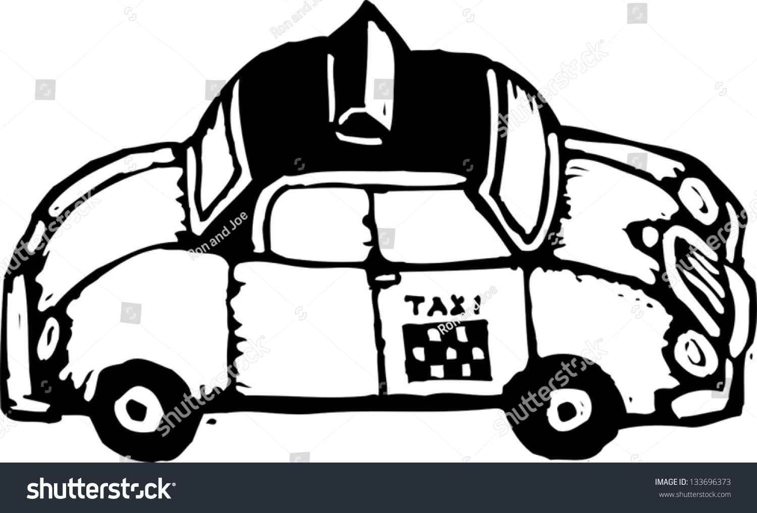 black and white vector illustration of a taxi cab. Black Bedroom Furniture Sets. Home Design Ideas