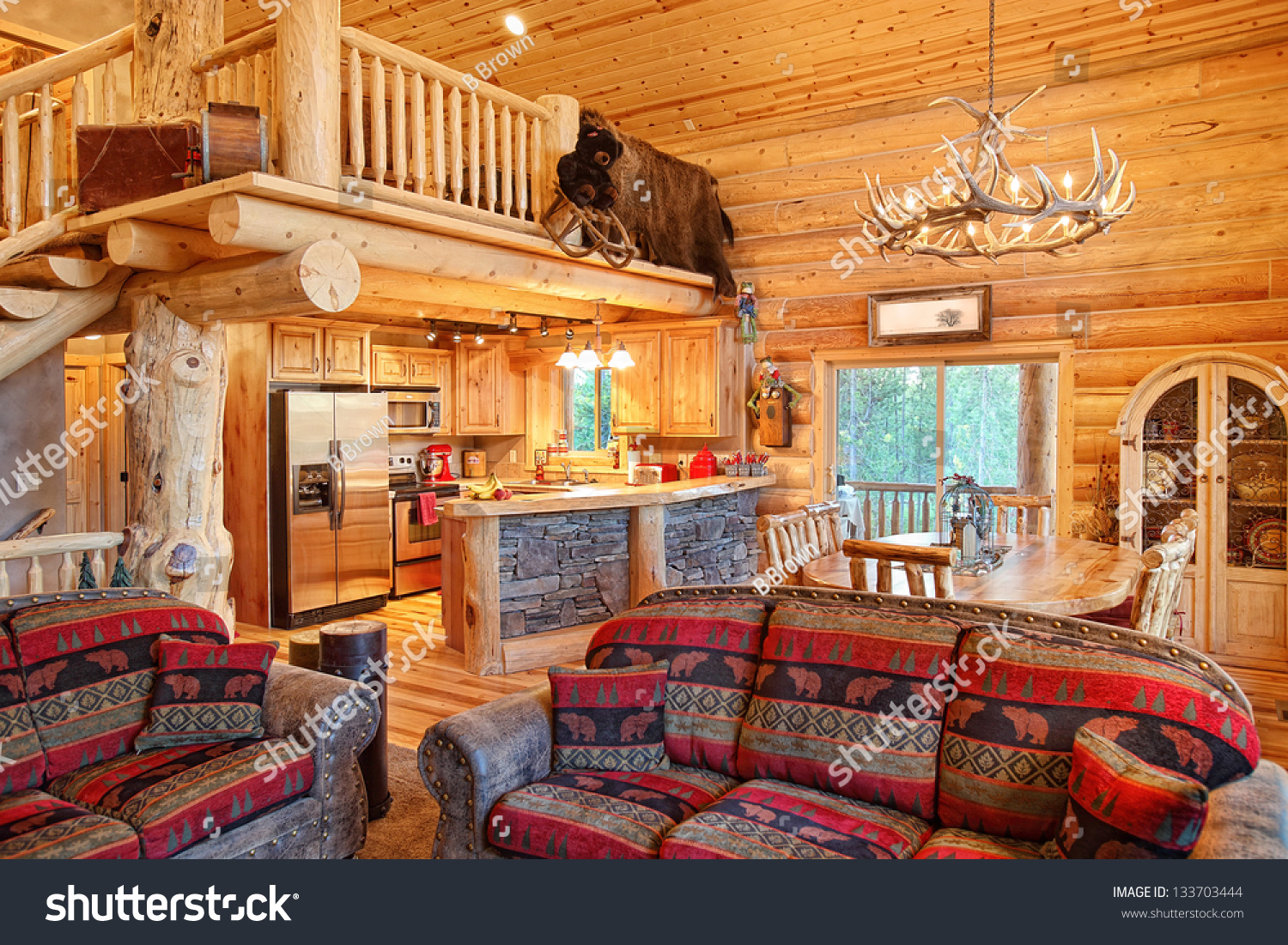 Interior modern log cabin stock photo 133703444 shutterstock for Log cabin interiors modern