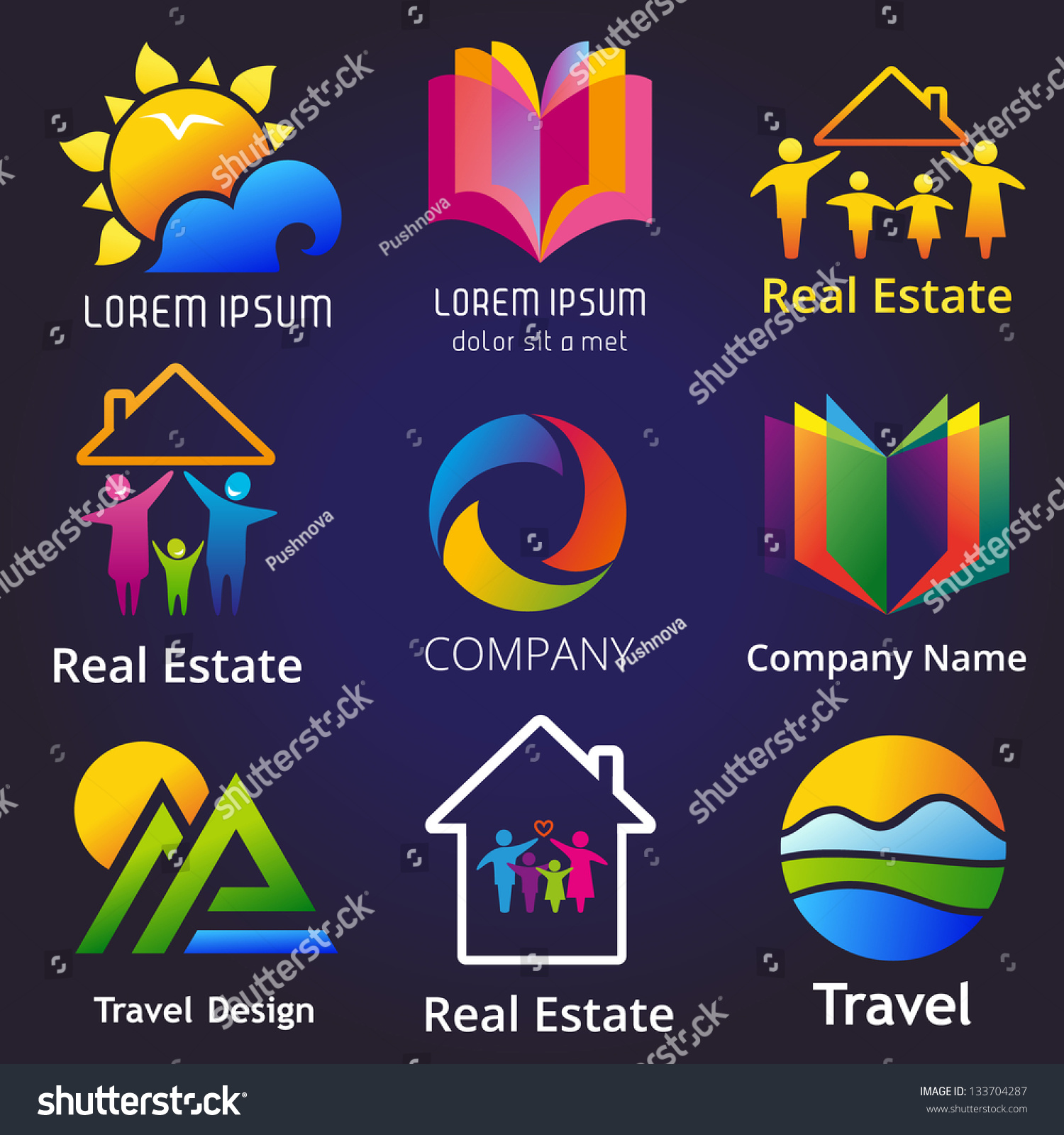 Set company name concepts vector illustration stock vector set of company name concepts vector illustration of abstract business symbols buycottarizona