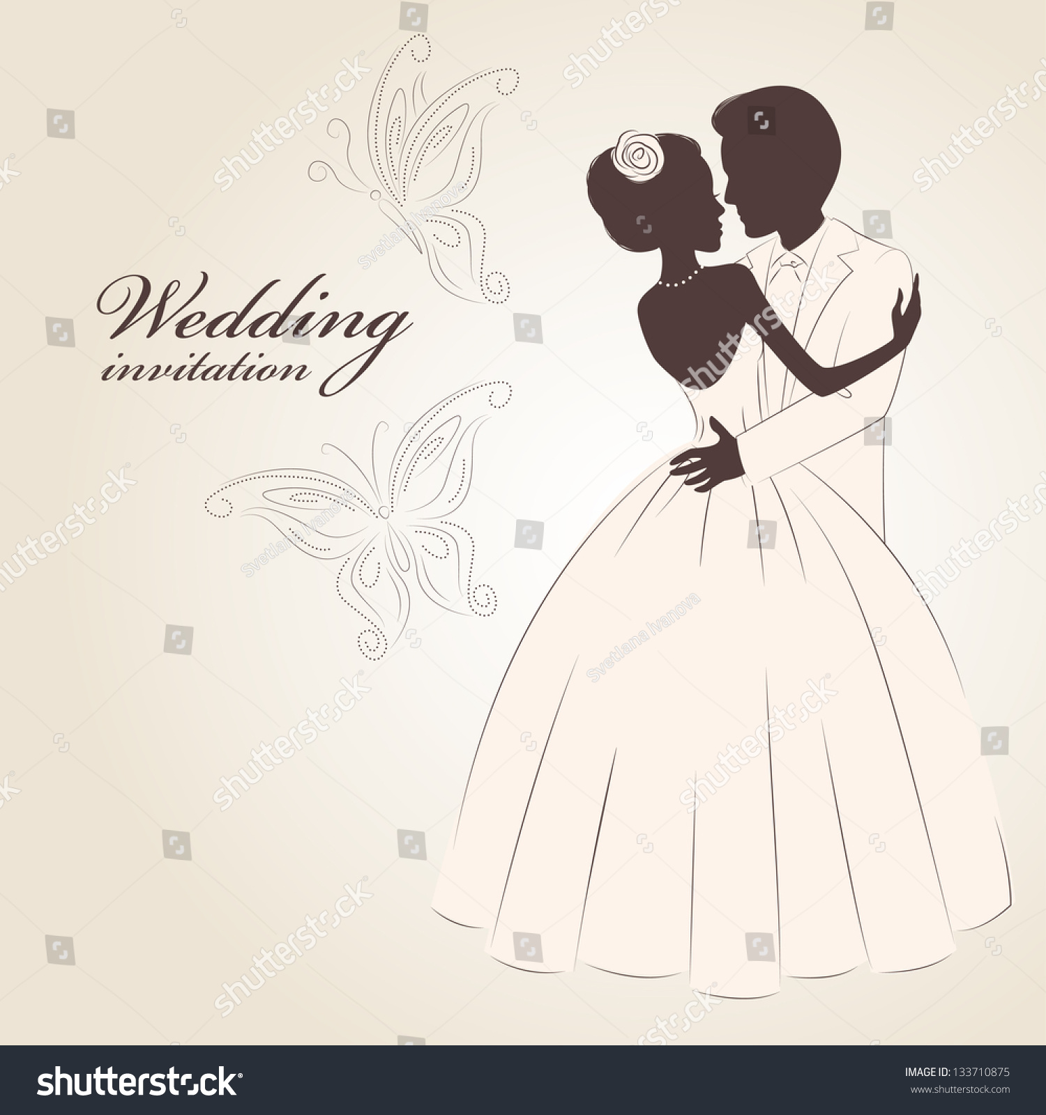 Wedding Invitation Romantic Bride Groom Dancing Stock Vector ...