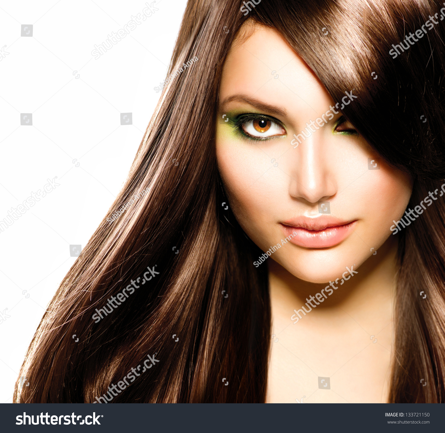 hair beautiful brunette girl healthy long stock photo 133721150 shutterstock. Black Bedroom Furniture Sets. Home Design Ideas