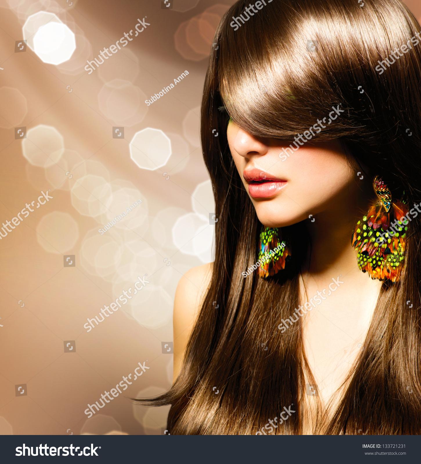 Hair Beautiful Brunette Girl Healthy Long Stock Photo - Haircut girl model