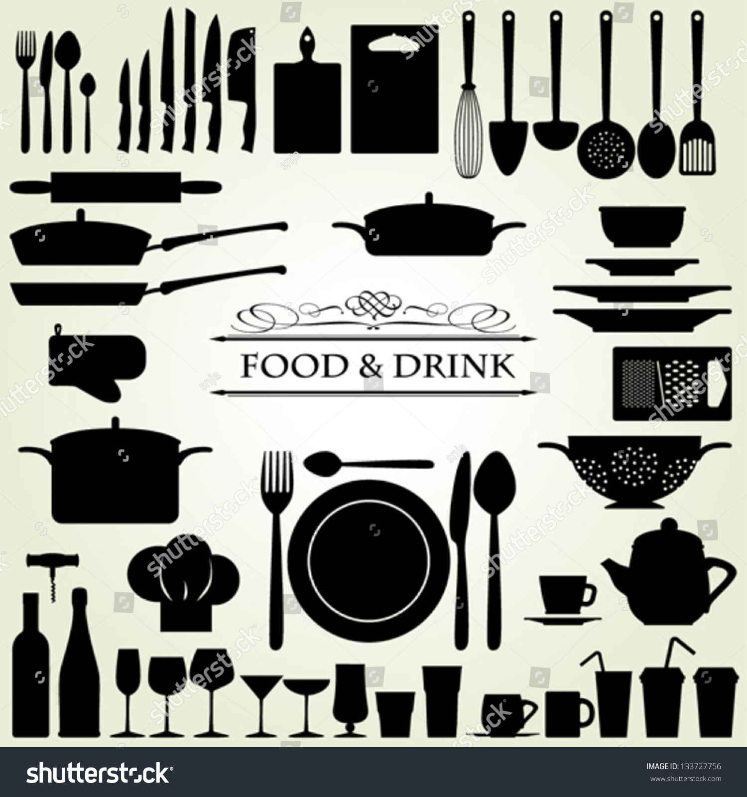 food drink kitchen utensils isolated vector stock vector 133727756