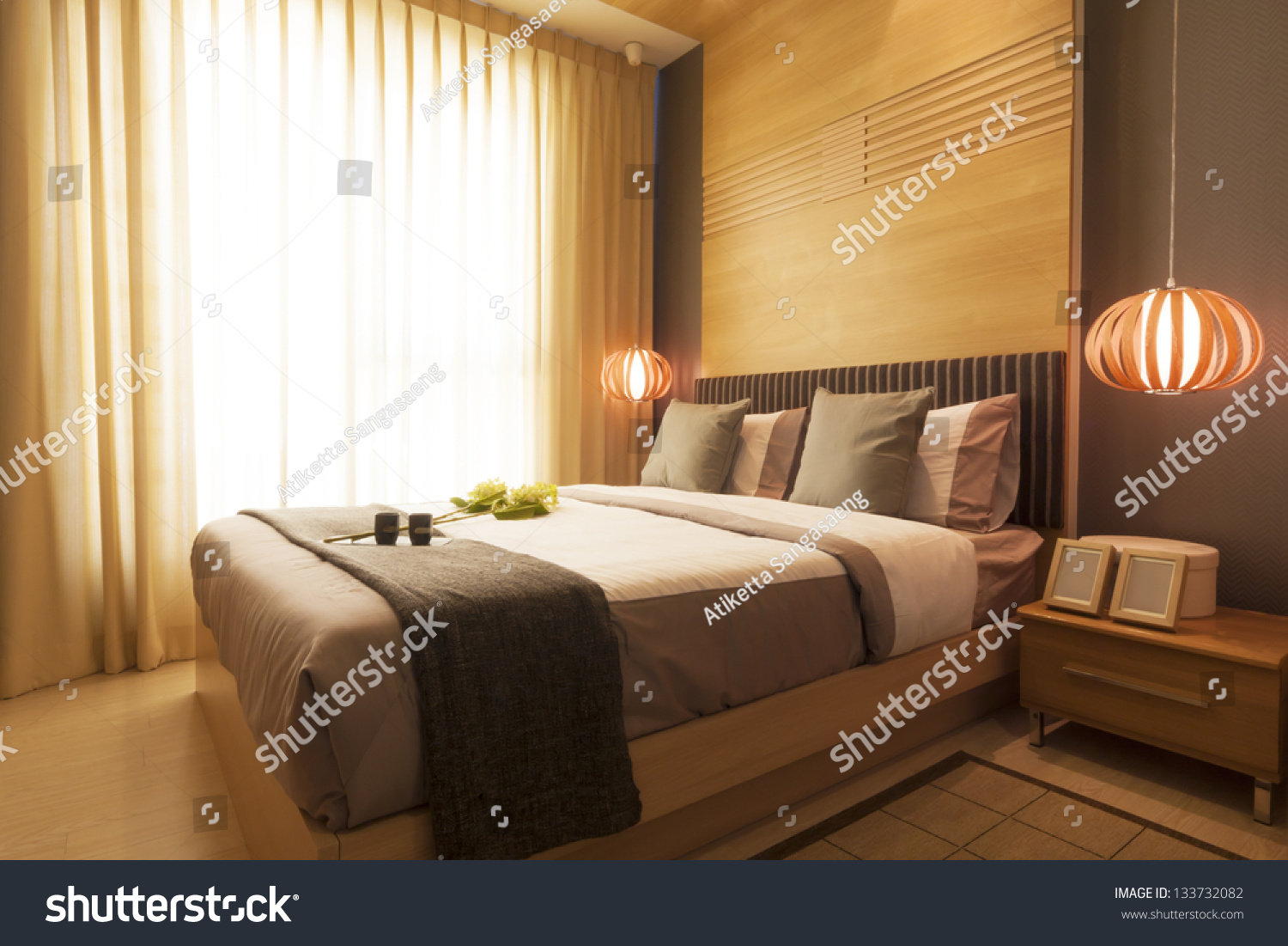 Luxury modern japanese style bedroom stock photo 133732082 for Luxury modern bedroom