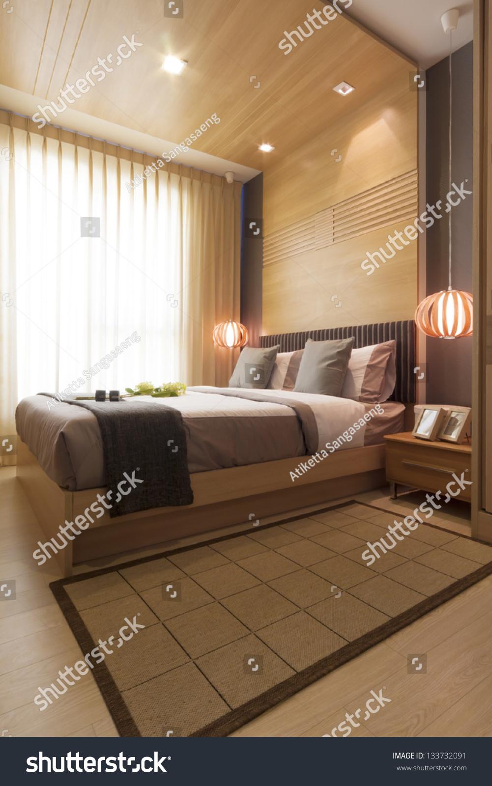 Luxury Modern Bedrooms luxury modern japanese style bedroom stock photo 133732091
