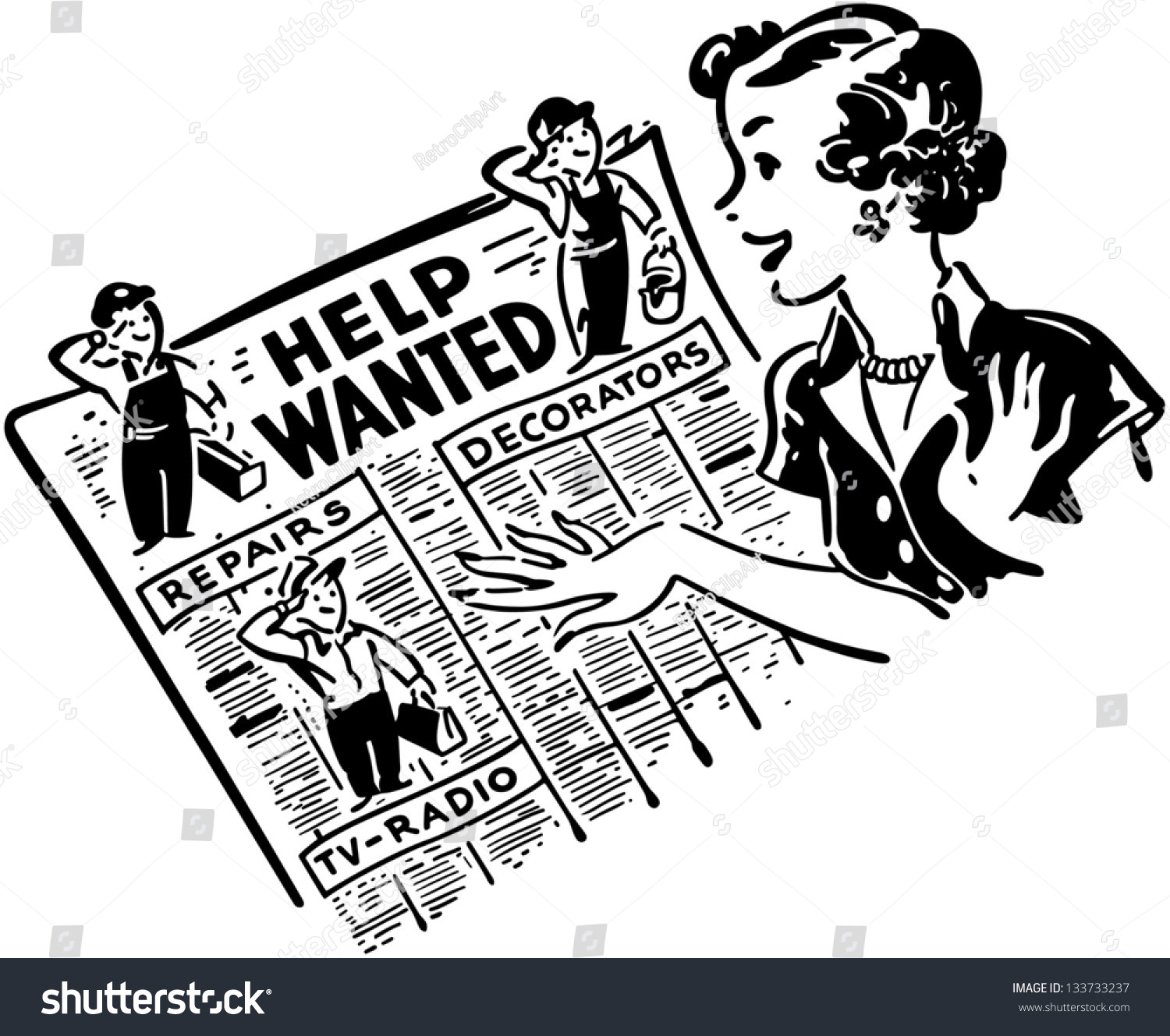 Line Art Help : Gal reading help wanted ads retro clip art illustration