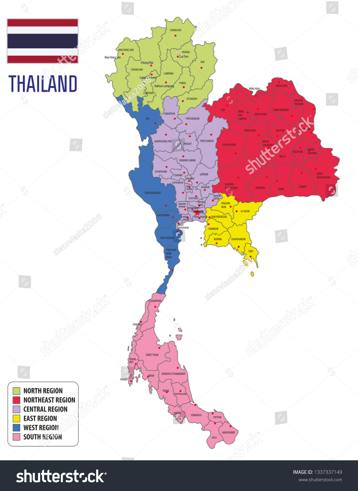 Picture of: Political Vector Map Thailand All Regions Stock Vector Royalty Free 1337337149