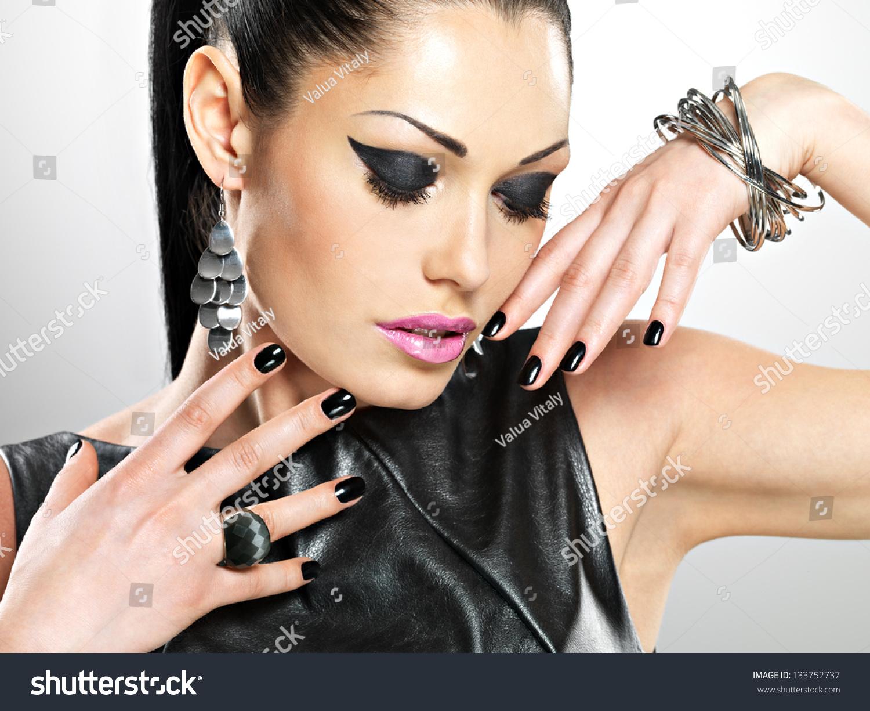 Beautiful Fashion Sexy Woman Black Nails Stock Photo