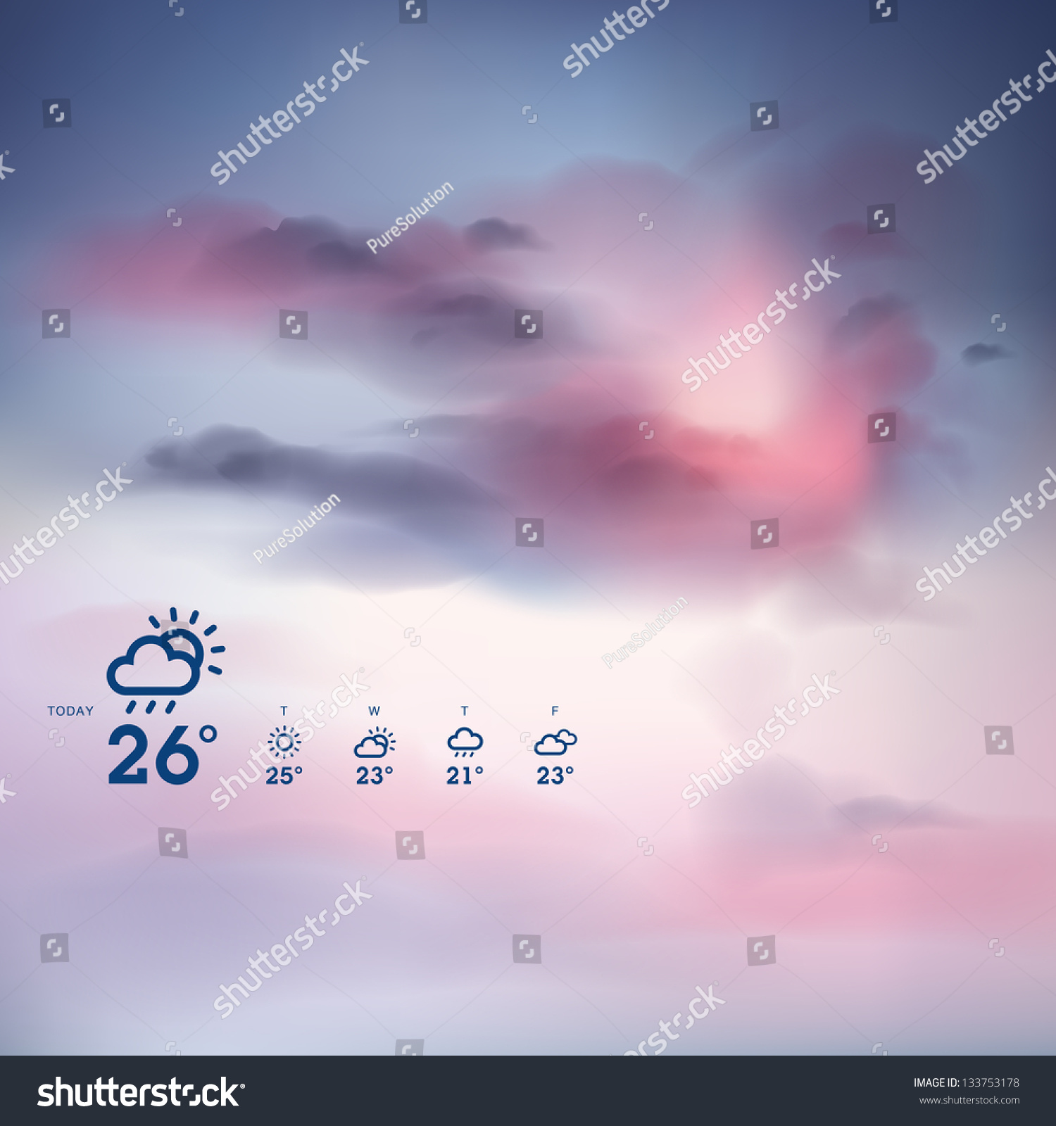 Weather Forecast Template Sunset Theme Background Stock Vector ...