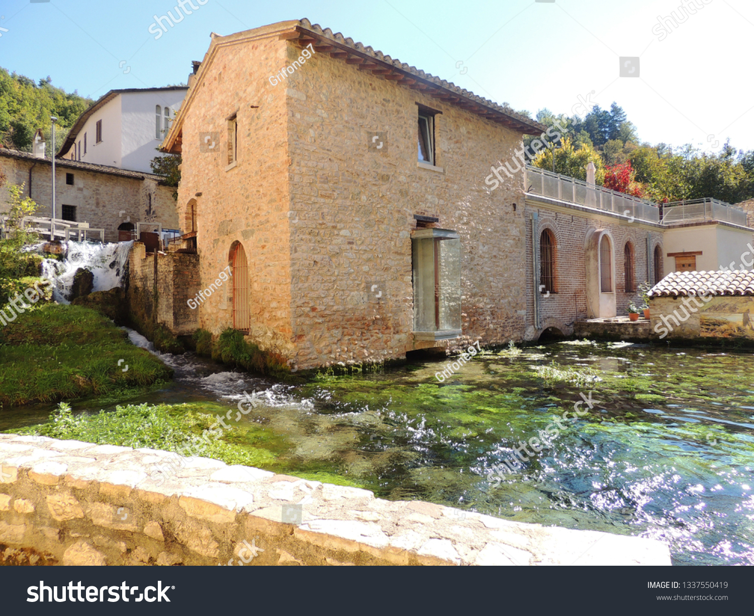 """RASIGLIA, ITALY- November 2018: Rasiglia is a medieval village in the center of Italy, famous for the streams of water crossing the town. It was called """"the little Venice"""" for this reason."""