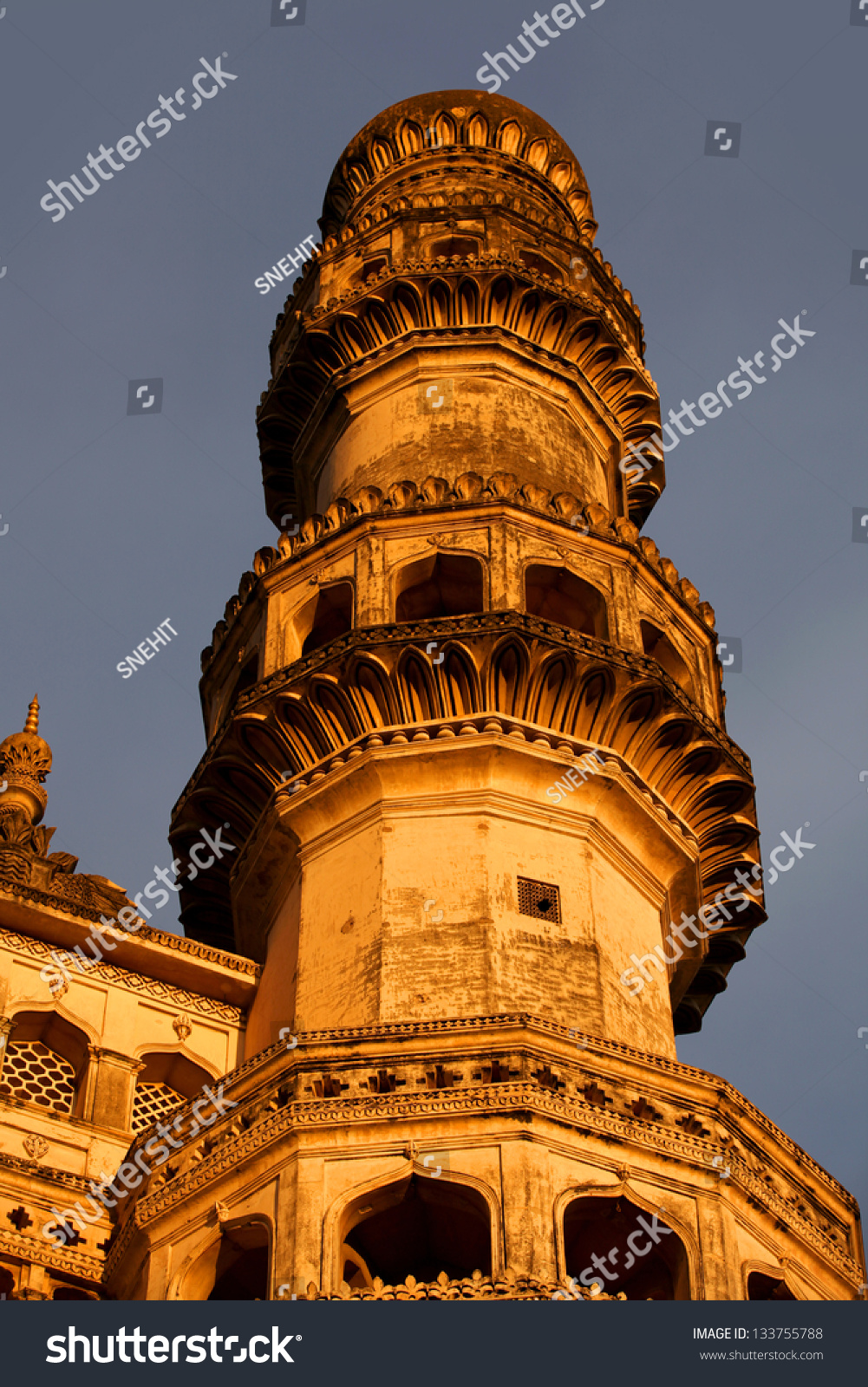 tall single minaret of 400 year old charminar stock photo