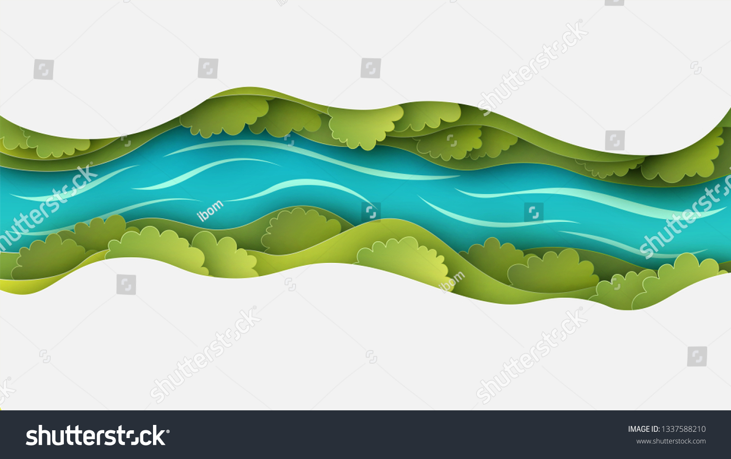 Paper layer cut of top view landscape in forest with trees, river, cloud and narrow valley. Landscape design on paper art. paper cut and craft style. vector, illustration.