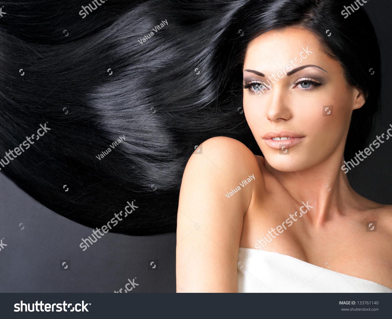 Portrait Beautiful Woman Long Straight Black Stock Photo