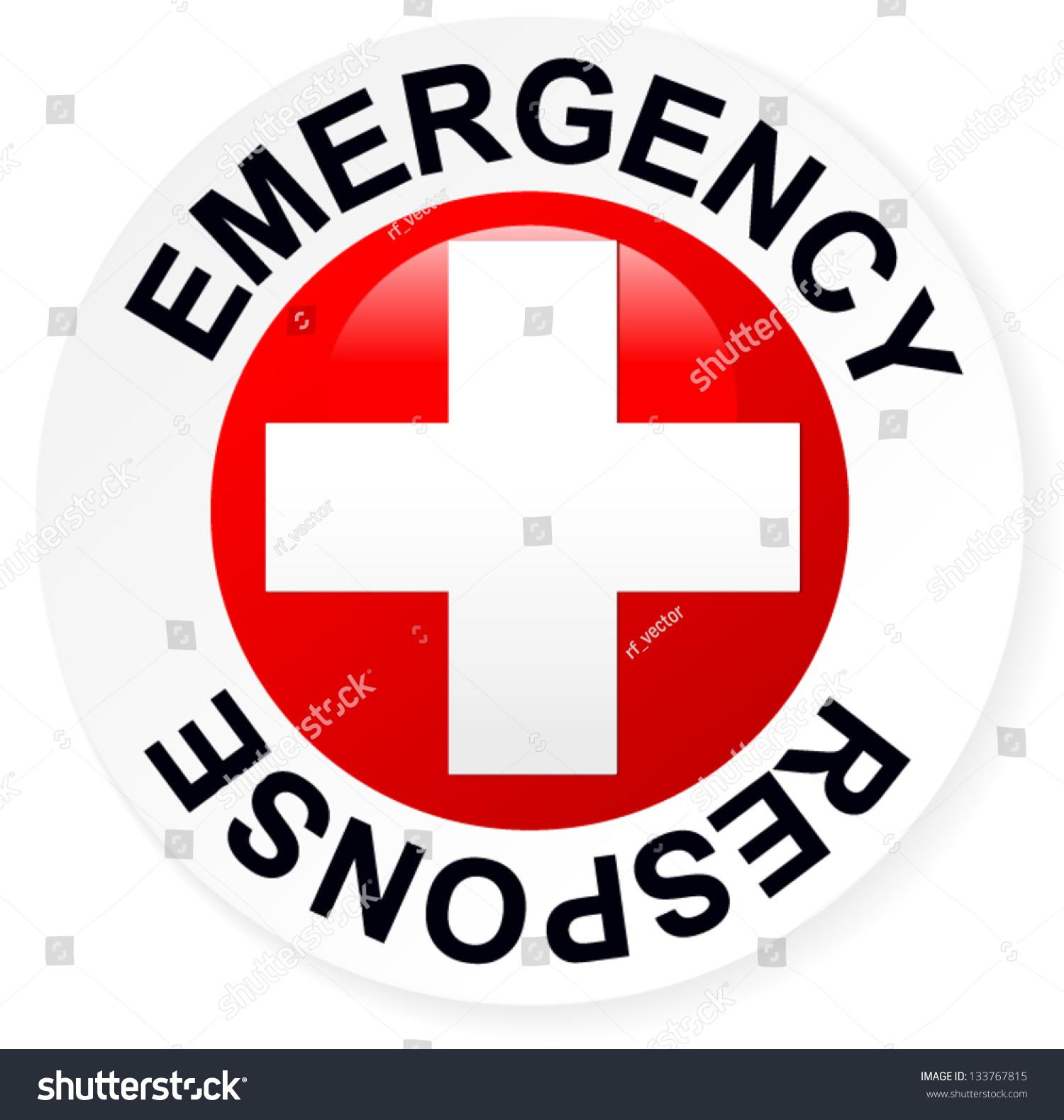emergency response badge red stock vector 133767815 shutterstock