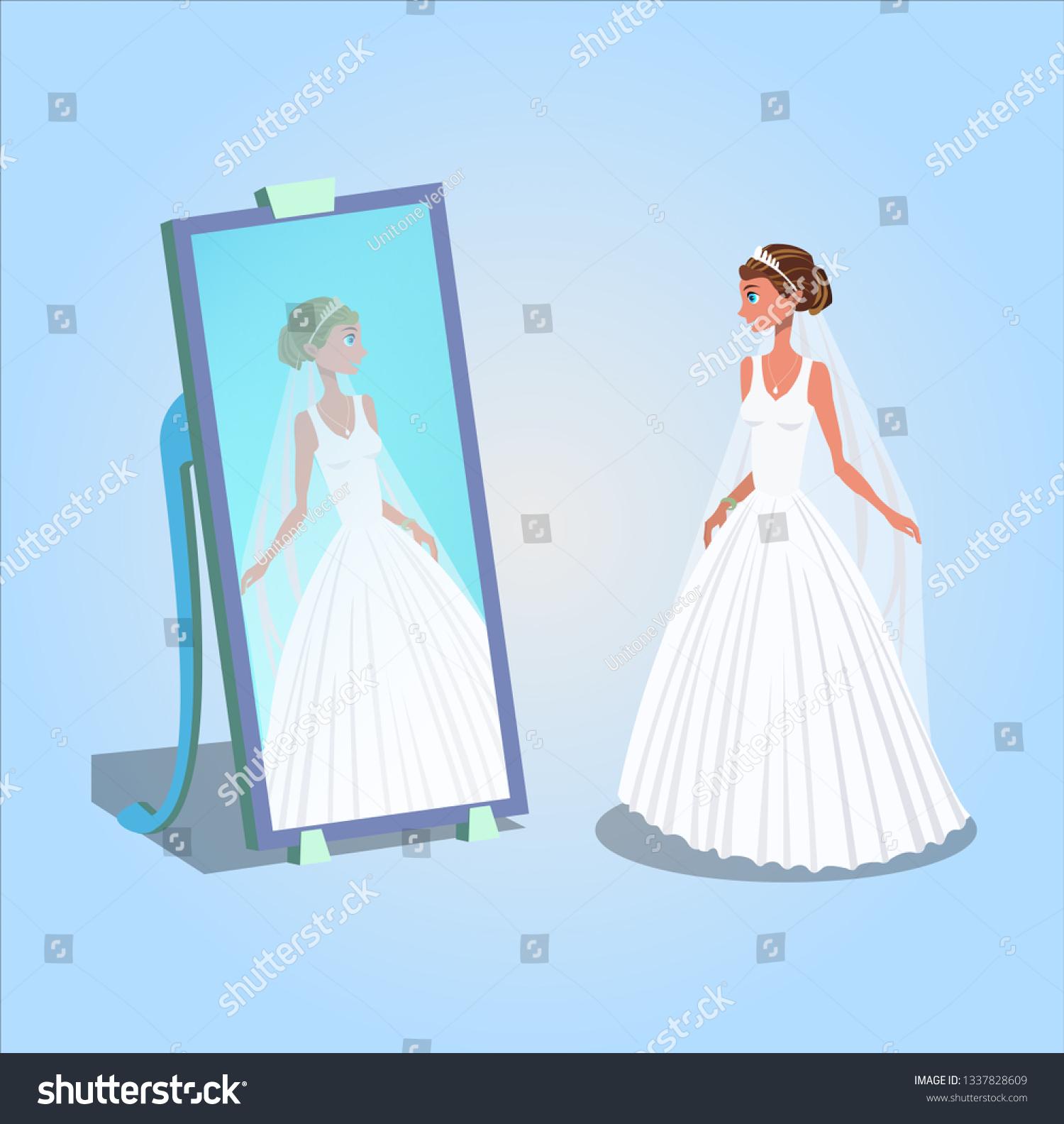b334f761089 Young Woman in Wedding Dress Vector Illustration. Bride Looking in Mirror  Cartoon Character. Wedding
