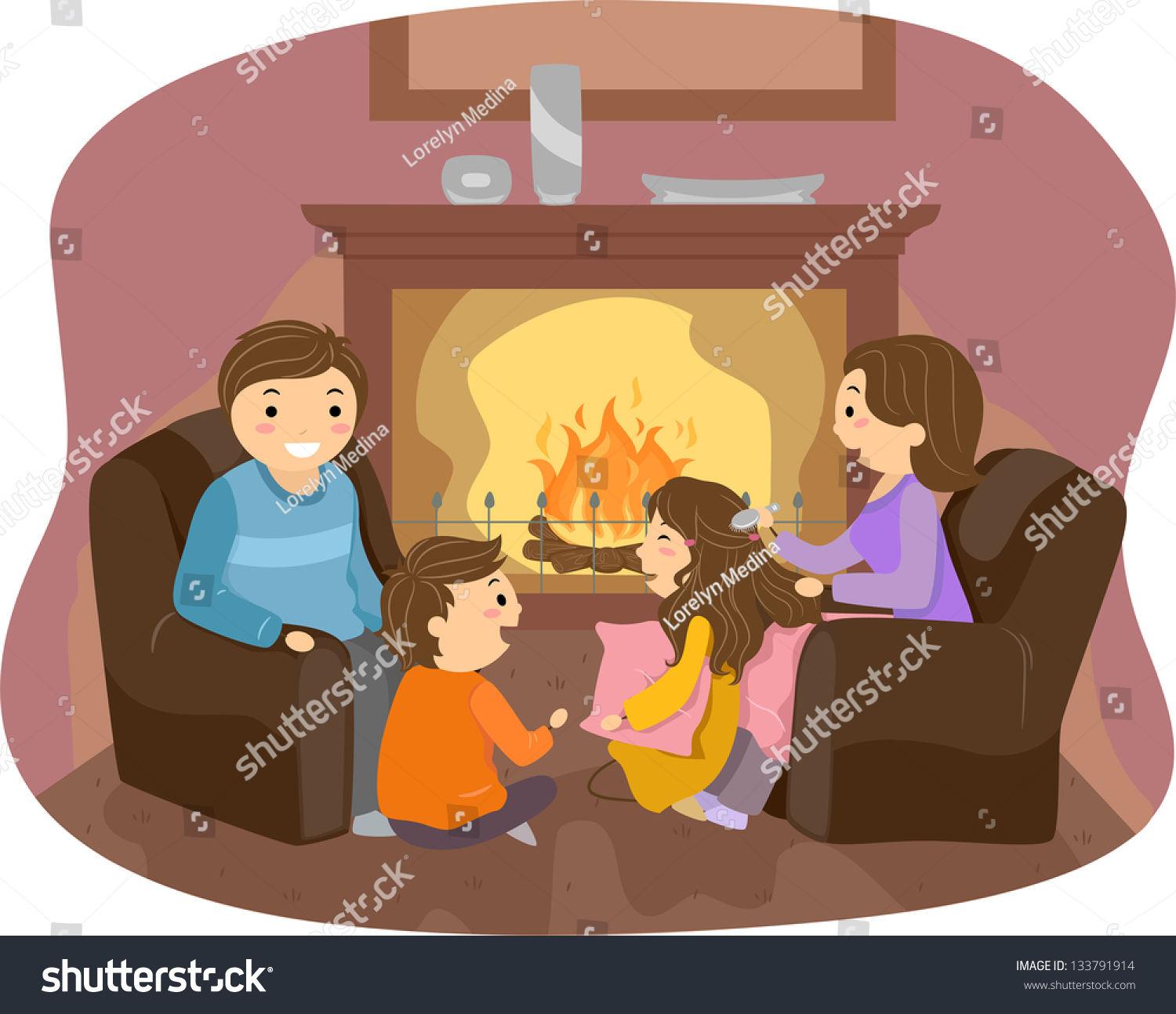 illustration stickman family enjoyng front fireplace stock vector