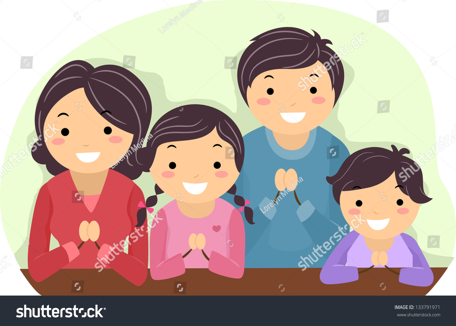 Illustration Family Praying Together Stock Vector ...