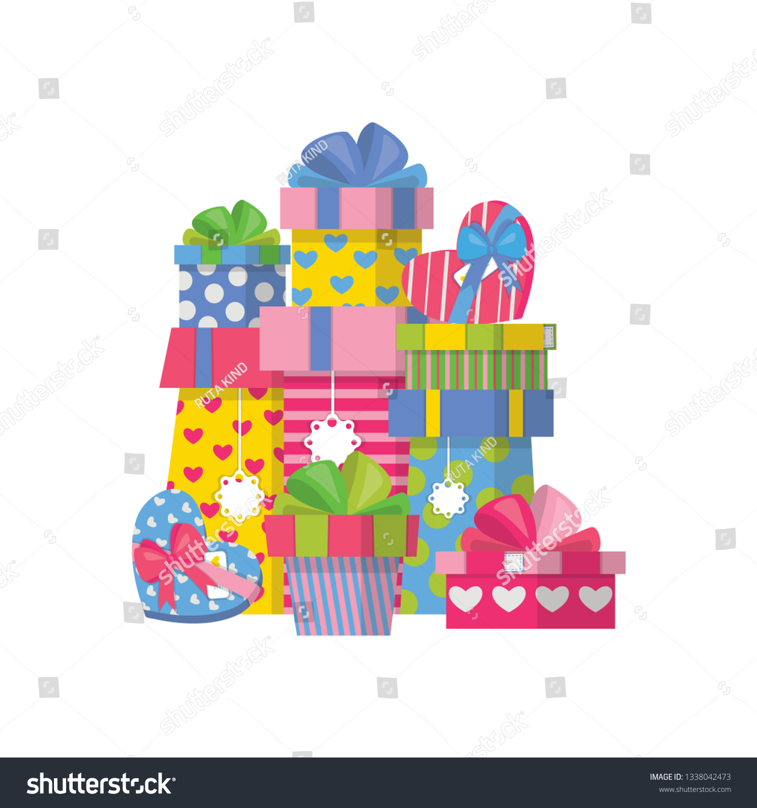 Present Box Pile Gift Graphic Design Stock Vector (Royalty Free