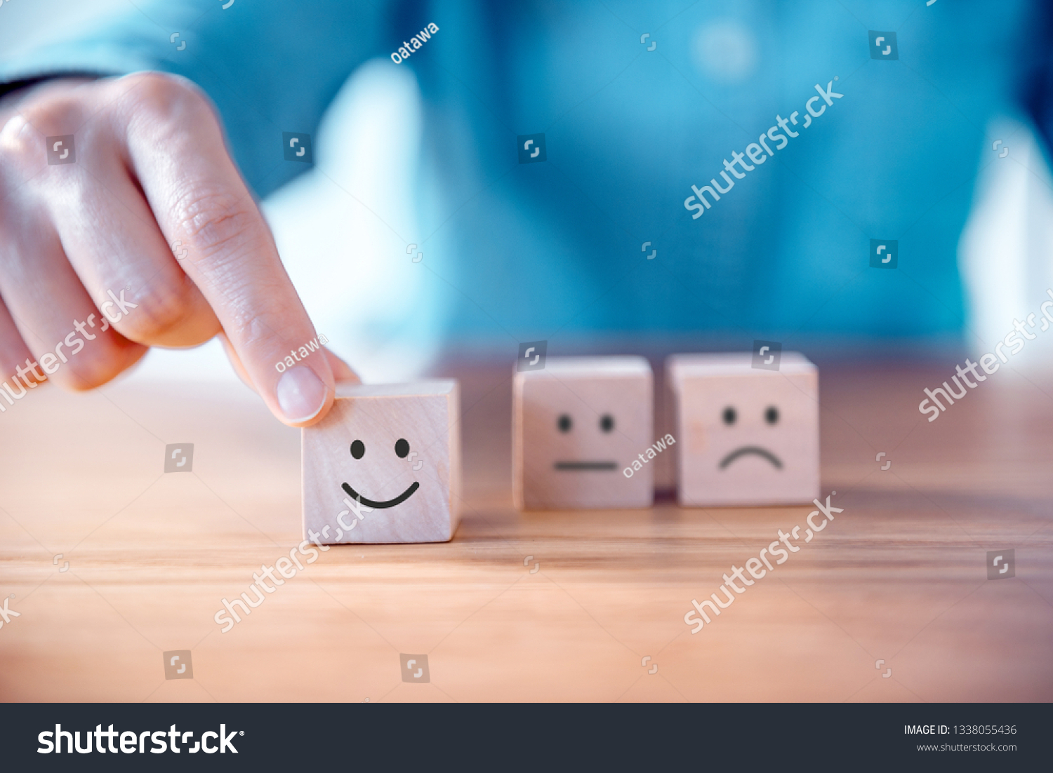 Close up customer hand choose smiley face and blurred sad face icon on wood cube, Service rating, satisfaction concept. #1338055436