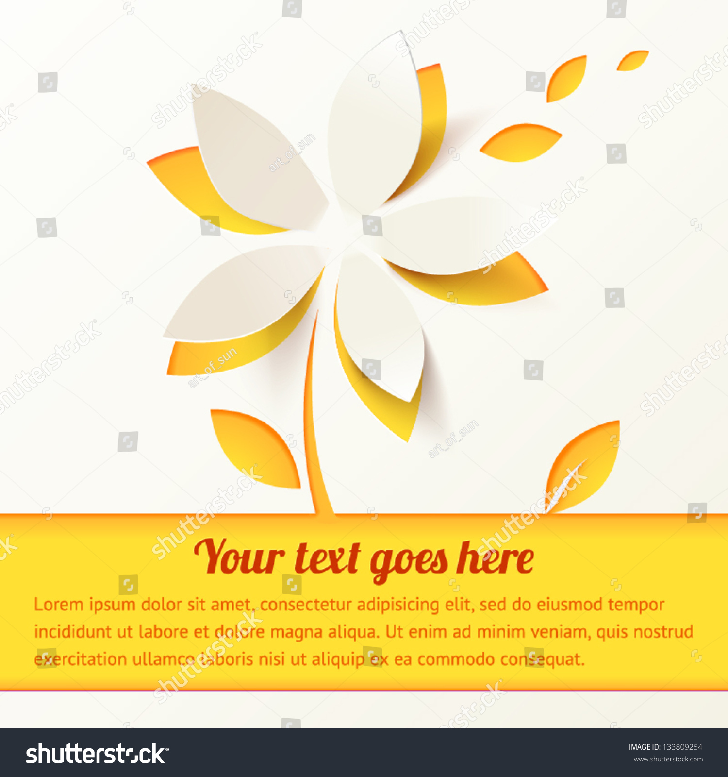 Yellow Cutout Paper Flower Vector Greeting Stock Vector Hd Royalty